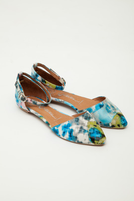Jeffrey Campbell Mixed Blue Lovin Ankle Strap Flats