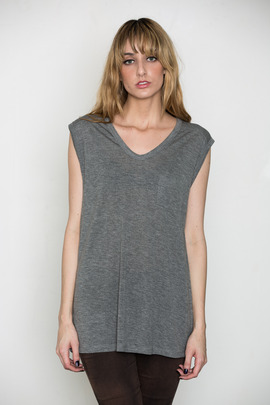 T by Alexander Wang Women's Heather Grey Classic Muscle Tee