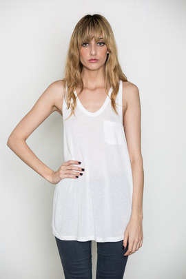 T by Alexander Wang Women's White Classic Tank w/ Pocket