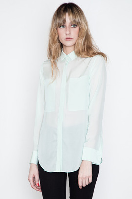 T by Alexander Wang Women's Seafoam Silk &amp; Mesh Combo Shirt