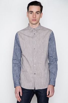 Wings + Horns L/S Color Block Cotton/Linen Shirt