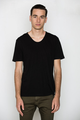 T by Alexander Wang Men's Black Classic Low Neck Tee