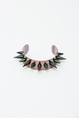 Joomi Lim Burgundy/Black Spike Cuff