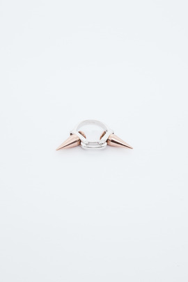 Joomi Lim Rhodium/Rose Gold Double Spike Ring