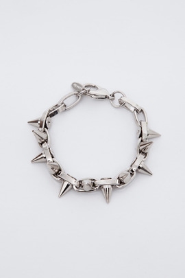Joomi Lim Rhodium/Silver Double Row Spike Bracelet