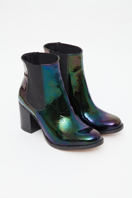 To Be Announced Black Patent Petrol Ten 20 Chelsea Boot