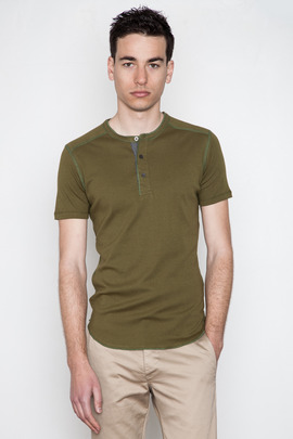 Wings + Horns Canvas Green S/S Henley