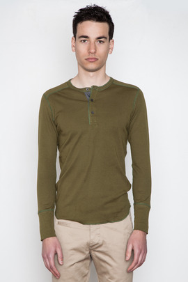 Wings + Horns Canvas Green L/S Henley