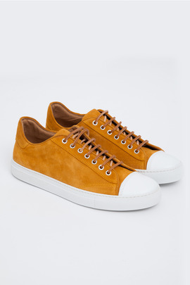 Wings + Horns Papaya/White Suede Low-Top Sneaker