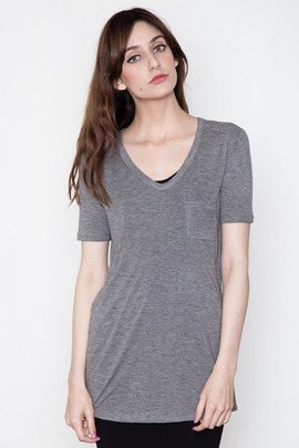 T by Alexander Wang Women's Heather Grey Classic Tee w/ Pocket