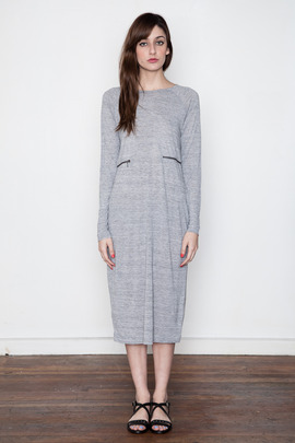 Ann-Sofie Back Grey Marl Zip L/S Dress
