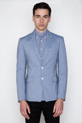 Kai-aakmann Men's Light Blue Cotton Blazer