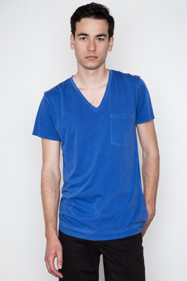 Cheap Monday Men's Azure Blue Tim V-Neck Tee