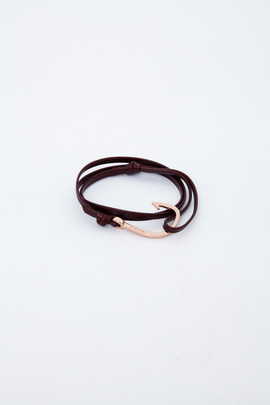 Miansai Rose Gold/Brandy Hooked Leather Bracelet