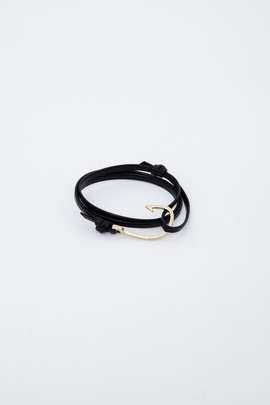 Miansai Gold/Black Hooked Leather Bracelet