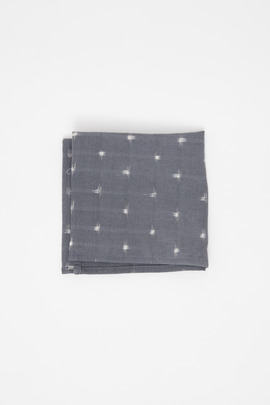 Wings + Horns Grey Ikat Handkerchief
