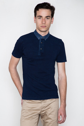 Wings + Horns Indigo Dobby Collar Pique Polo