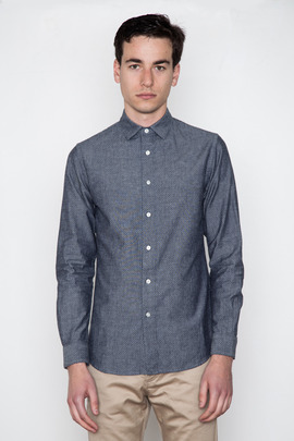 Wings + Horns Indigo Dobby Polka Dot Shirt