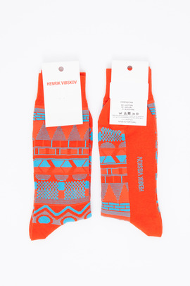 Henrik Vibskov Men's Multi Red Helsinki Socks
