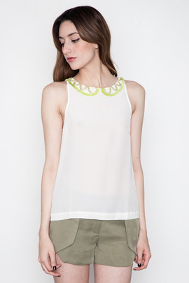 Addison Hartford Beaded Collar Top