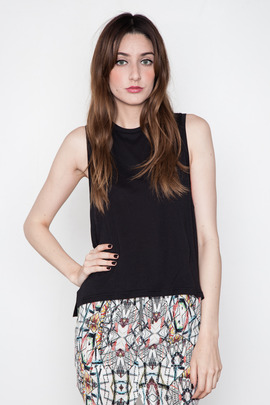 Funktional Black Geometric Loose Cut Out Tank