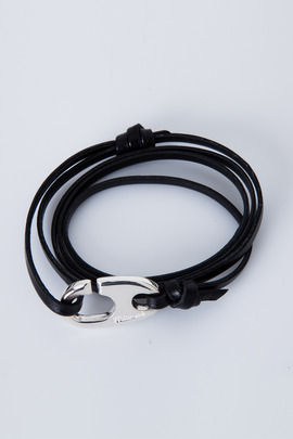 Miansai Silver/Black Brummel Hook Bracelet