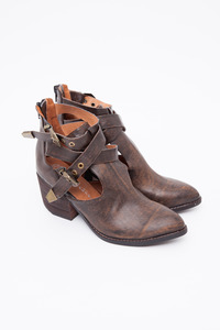 Jeffrey Campbell Brown Washed Vegan Everwell Bootie