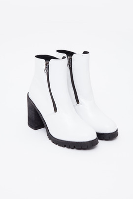 To Be Announced White Sarabelle Double-Zip Boot