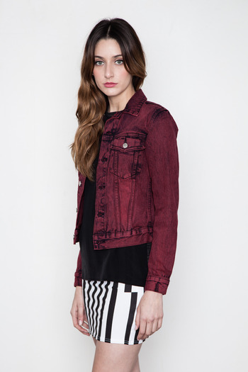 Cheap Monday Women's - Remake Red Vital Denim Jacket