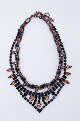 Joomi Lim Metal Luxe Jet/Brown Crystal & Spike Necklace