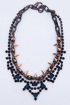 Joomi Lim Metal Luxe Jet/Blue Crystal & Spike Necklace