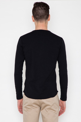 Wings + Horns Black L/S Base Henley SS14