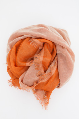 Wings + Horns Natural/Orange Wrap Scarf