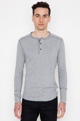 Wings + Horns Heather Grey L/S Base Henley SS14