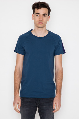 Robert Geller Seconds Blue Sleeve Stripe T-Shirt