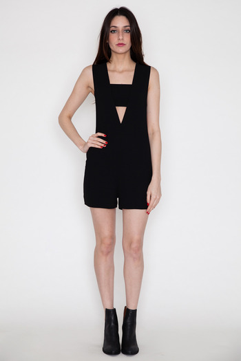 T by Alexander Wang Women's - Crepe Low V Bandeau Romper