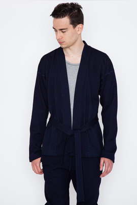 Wings + Horns Indigo Terry Sashiko Print Fisherman Sweater
