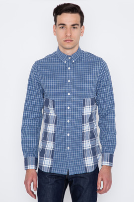 Wings + Horns L/S Sashiko Monogram Plaid Fisherman Shirt