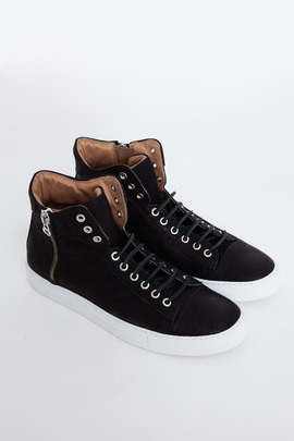 Wings + Horns Black/White Leather Hi-Top Sneaker