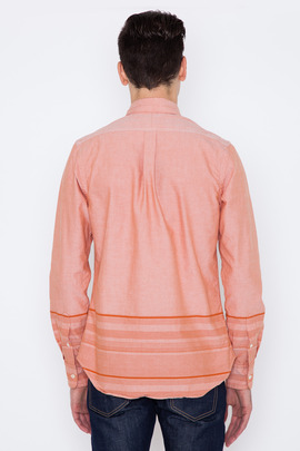 Wings + Horns Orange/White Engineered Solid-to-Sakiori Shirt