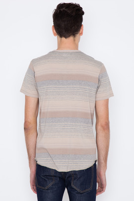 Wings + Horns Tan Sakiori Stripe S/S Henley