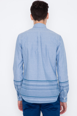 Wings + Horns Blue/White Engineered Solid-to-Sakiori Shirt