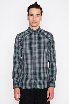 Wings + Horns Double-Layered Plaid Shirt