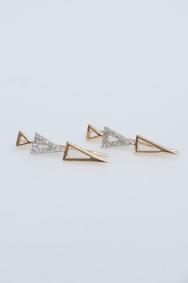 Adina Reyter 14K Gold Open Pavé 3 Triangle Wing Earcuffs