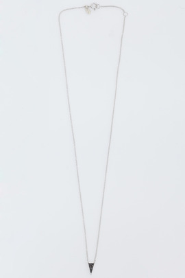 Adina Reyter Silver Super Tiny Long Black Diamond Pavé Triangle Necklace