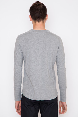 Wings + Horns Heather Grey L/S Base Henley SS15