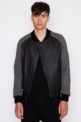 Wings + Horns Knit Wool Leather Bomber Jacket