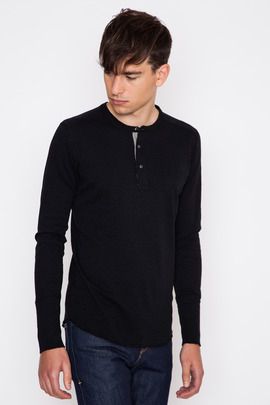 Wings + Horns Black L/S Base Henley FW15