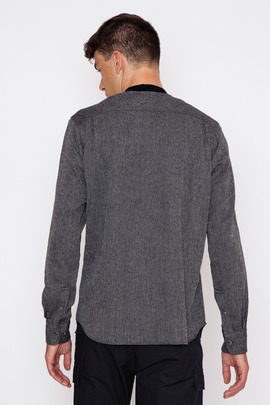 Wings + Horns Jaspe Herringbone Knit Collar Shirt