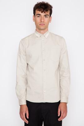 Robert Geller Beige Contrast Collar Robert Oxford Shirt
